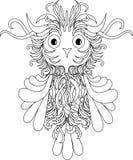 Black and white stylized owl, zentangle stock Royalty Free Stock Image