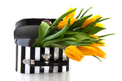 Black and white suitcase with flowers Royalty Free Stock Image