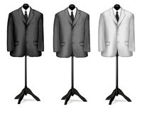 Black and white suits on mannequins. Vector Stock Photo