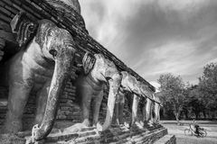 Black and White. Sukothai historical park, Unesco world heritage. Chang Rop Temple ,Thailand Stock Photos