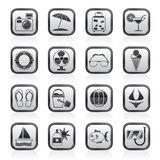Black and white summer and beach icons Stock Photos
