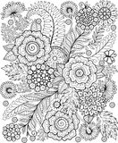 Black-and-white Summer flowe isolated on white. Abstract doodle background made of flowers  and butterfly. Vector coloring page. Black-and-white Summer flowers Royalty Free Stock Photos