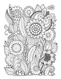 Black-and-white Summer flowers isolated on white. Abstract doodle background made of flowers  and butterfly. Vector coloring page Stock Photo