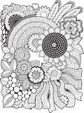 Black-and-white Summer flowers isolated on white. Abstract doodle background made of flowers  and butterfly. Vector coloring page Royalty Free Stock Photos