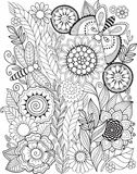 Black-and-white Summer flowers isolated on white. Abstract doodle background made of flowers  and butterfly. Vector coloring page Royalty Free Stock Photo