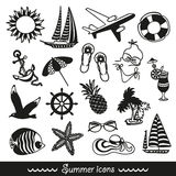 Black and white summer icons vector illustration