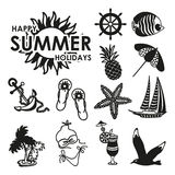 Black and white summer icons Stock Photo