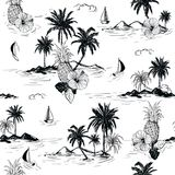 Black and white summer Island hawaiian mood hibiscus flower,plam trees ,ships,coconut tree ,wave in hand drawn style seamless pat stock illustration