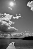 Black and white summer landscape with lake Royalty Free Stock Photo