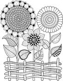 Black-and-white Summer Sunflowe isolated on white. Abstract doodle background made of flowers  and butterfly. Vector coloring page Stock Photos