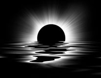 Black and White Sun. Black and white image of the sun and water vector illustration