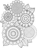 Black-and-white Sunflowers isolated on white. Abstract doodle background made of flowers  and butterfly. Vector coloring page Stock Images