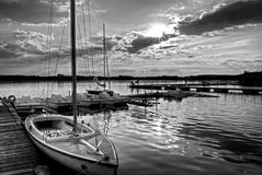 Black and white sunset. Monochromatic sunset over the lake in Poland Stock Photography