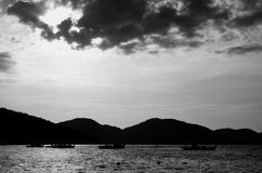 Black and White Sunset in Penang Stock Photos
