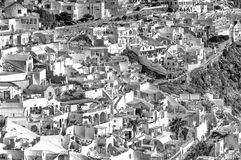 Black and white sunset view of Santorini.  Royalty Free Stock Images