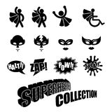 Black and white superhero icons symbol collection. Male and female Royalty Free Stock Image