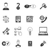 Black and white support icon set Royalty Free Stock Photography