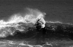 Black and White Surfing Surfer in Action Royalty Free Stock Photography