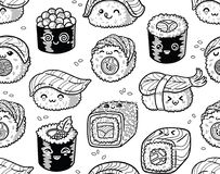 Black and white sushi and sashimi seamless pattern in kawaii style. Cute seamless pattern with cartoon rolls and sushi in kawaii style. Tasty japanese food in Royalty Free Stock Photo