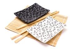 Black and white sushi set stock images