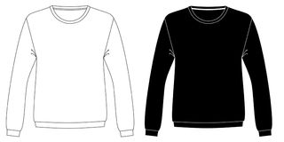 Black and white sweatshirts technical sketch Royalty Free Stock Photos