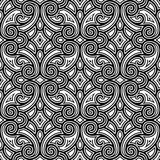 Black and white swirly pattern. Black and white swirly ornament, seamless pattern Royalty Free Stock Images