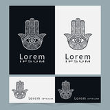 Black and white symbol hamsa hands, protection. Amulet collection, logo icon design Business cards set. Vector Royalty Free Stock Photography
