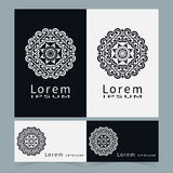 Black and white symbol stylized flower collection. Logo icon design Business cards set. Vector abstract shape line art Stock Image