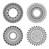 Black and white symmetric henna patterns Royalty Free Stock Image
