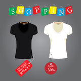 Black and white T-shirt with labels, paper bags with the word sh Royalty Free Stock Photography