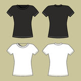 Black and white t-shirt template Royalty Free Stock Photos