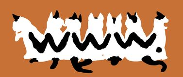 Black-and-white tabby cats making pattern WWW. Seven Black-and-white tabby cats making pattern WWW Royalty Free Stock Photography