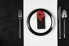 Black and white table setting Royalty Free Stock Photos