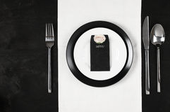 Black and white table setting Stock Photos