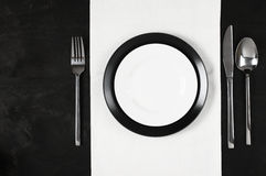 Black and white table setting Stock Photography
