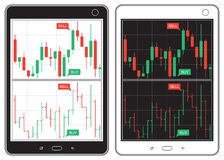 Black and white tablet with business charts Stock Photo