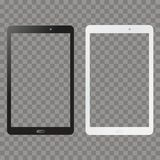 Black and white tablet mock up on transparent background. Vector. vector illustration