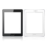 Black and White tablet pc computer with blank screen  on the white background. Realistic template. Vector Stock Photos