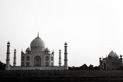 Black and white Taj Mahal Agra Stock Image