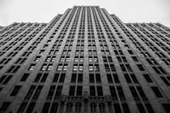 Black and white of a tall building in San Francisco California. On a clear day stock images