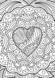 Black and white tangle pattern with heart shape stock photo
