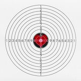 Black and white target with a heart. Black and white target with numbers for shooting with a red heart Stock Image
