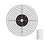 Black and white target with red holes Royalty Free Stock Images