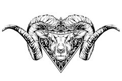 Black and white tattoo of a ram head in crown. Stock Photography