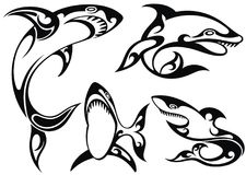 Black and white tattoo silhouette of sharks. Set of black silhouette of sharks Royalty Free Stock Images