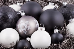 Black, white and taupe Christmas decorations. Black, white and taupe coloured Christmas decorations / ornaments Royalty Free Stock Photography
