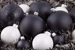 Black, white and taupe Christmas decorations. Black, white and taupe coloured Christmas decorations / ornaments Stock Photo
