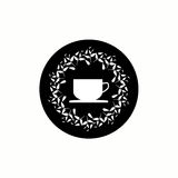 Black and white tea concept. Tea concept. Vector illustration with a circle of leaves and cup silhouette Royalty Free Stock Images