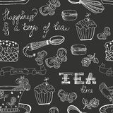 Black and white tea time pattern Stock Photos