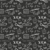 Black and white tea time pattern Royalty Free Stock Image